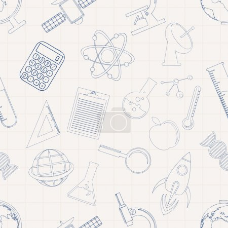 Illustration for Creative science pattern with various signs and symbols on grey background. - Royalty Free Image