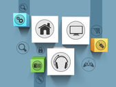 Set of shiny 3D web icons on blue background for technology concept