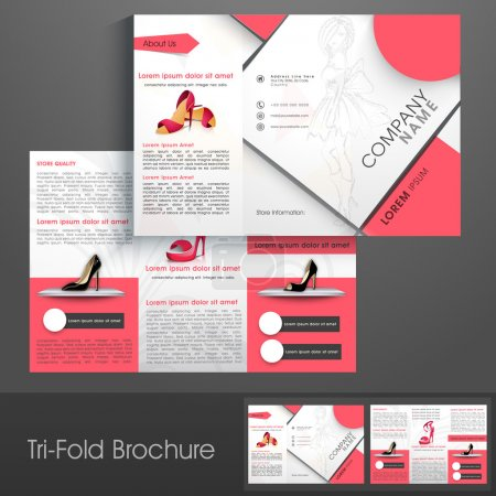Illustration for Stylish trifold, flyer, banner or template for Women's Sandal Shop. - Royalty Free Image