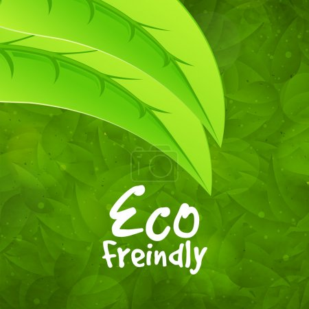 Illustration for Creative pattern with fresh green leaves for Eco Friendly concept, can be used as poster, banner or flyer design. - Royalty Free Image