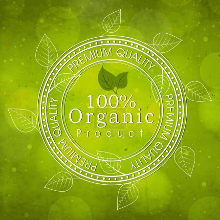 Illustration for Creative rubber stamp with leaves on shiny green background for Organic Products. - Royalty Free Image