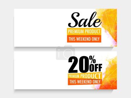 Illustration pour Glossy Sale ensemble d'en-tête de site Web ou bannière avec offre de réduction pour un temps limité seulement . - image libre de droit
