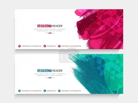 Illustration for Creative shiny website header or banner set with abstract color splash. - Royalty Free Image