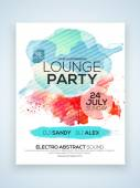 Creative stylish one page Flyer Banner or Template for Lounge Party celebration with date and time details