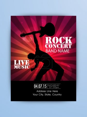 Rock Music Night Party celebration Flyer or Banner.