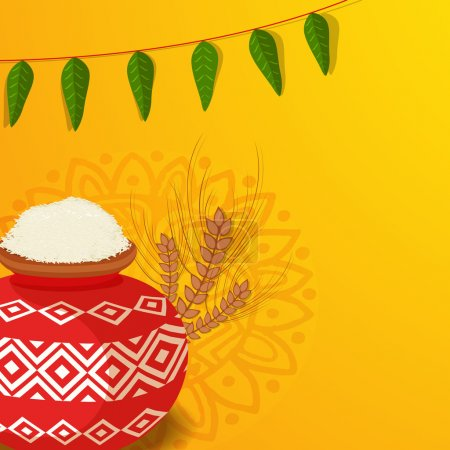 Happy Pongal celebration with traditional mud pot.