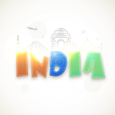Glossy text Indian with Monuments for Republic Day.