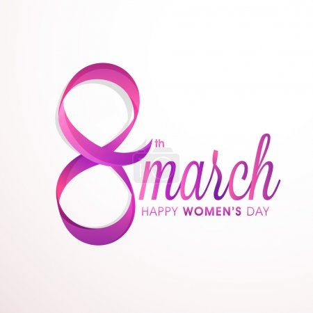 Stylish text 8 March for Women's Day.