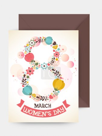 Greeting card with envelope for Women's Day.
