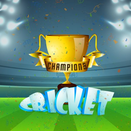 Golden Cup for Cricket Sports concept.