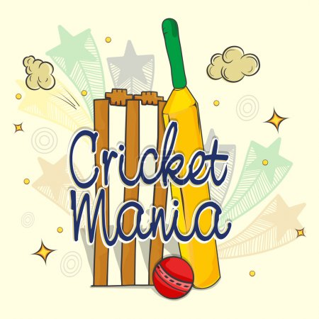 Bat, Ball and Stumps for Cricket Sports concept.