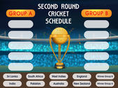 Second Round Cricket Match Schedule with Golden Winning Trophy and Participant Countries Names on stadium background