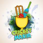 Winning Cup with Bat and Ball for Cricket Mania