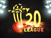 Stylish text for Cricket League concept