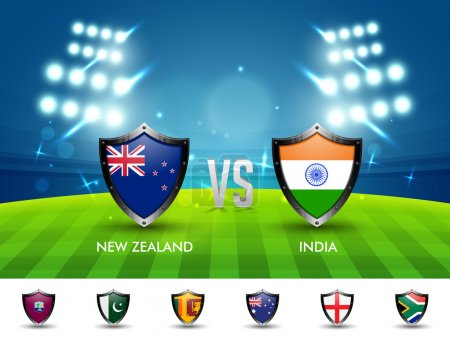 New Zealand VS India Cricket Match concept.