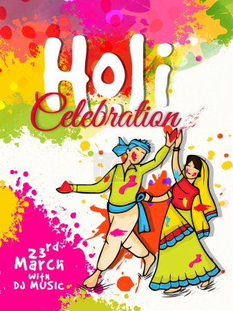 Pamphlet, Banner or Flyer for Happy Holi celebration.