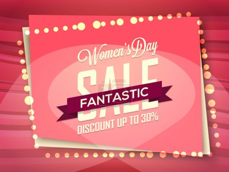Illustration for Creative Poster, Banner or Flyer design of Fantastic Sale with 30% Discount Offer for Happy Women's Day celebration. - Royalty Free Image