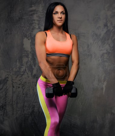 Athletic woman in colorful sportswear