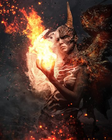 Photo for Portrait of devil woman with horn in fire and sparks - Royalty Free Image