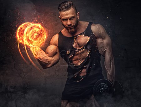 bodybuilder with burning dumbbell.