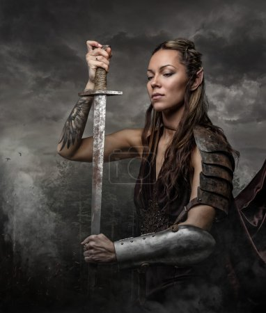Elf woman warrior with sword