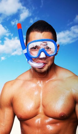 Muscular male with scuba mask