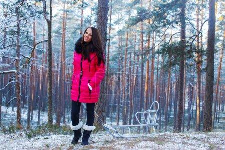 Photo pour Promenade dans les bois d'hiver avec traîneau - image libre de droit