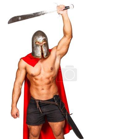 Photo pour Image d'un guerrier agressif avec la main levée - image libre de droit