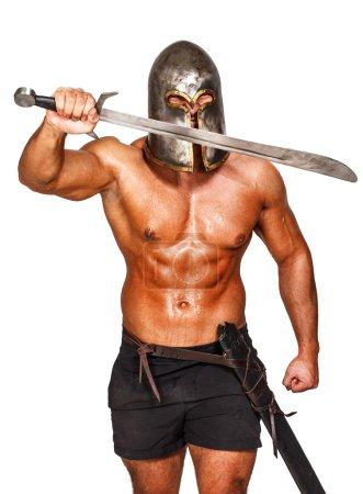 Photo pour Image d'un guerrier agressif qui se bat - image libre de droit