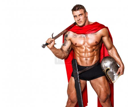 Huge warrior with sword, helmet and mantle