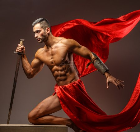 Muscular roman soldier