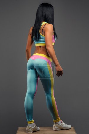 Female in colorful sportswear