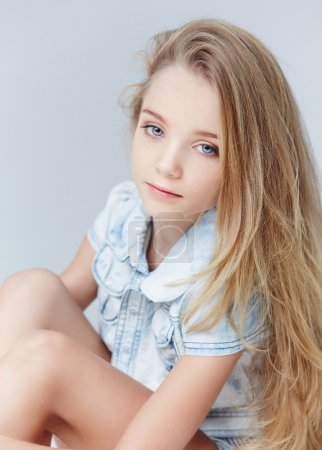 Portrait of teenager girl with long  hair