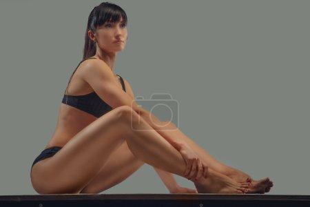 Slim good looking brunette woman