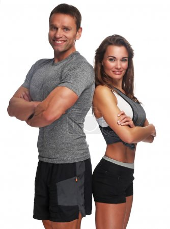 man and attractive slim woman.