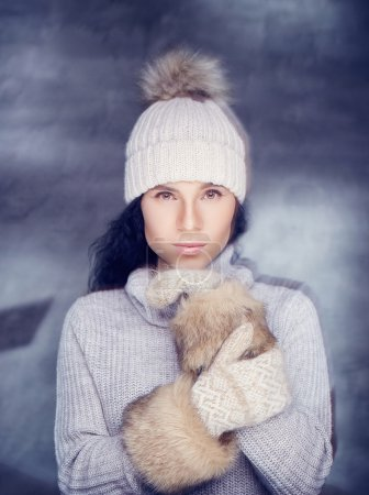 Female in warm pullover