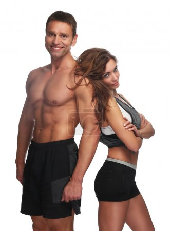 Fitness couple. Isolated on white background.