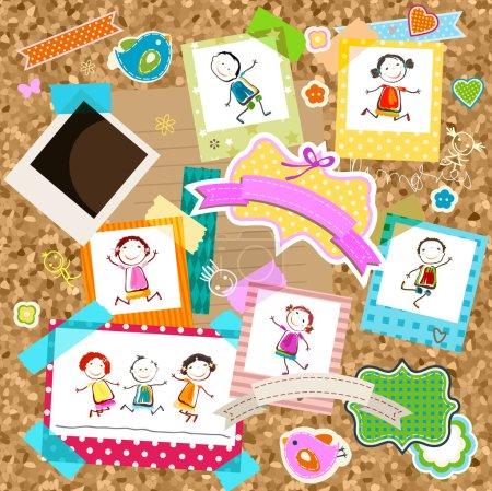 Illustration pour Cadre photo enfants heureux - image libre de droit