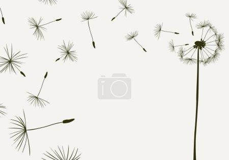 Illustration pour Pissenlits volant dans le vent - image libre de droit