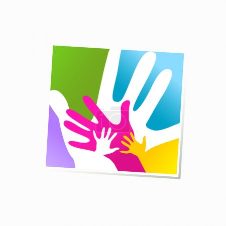 Illustration for Children and adults hands together - Royalty Free Image