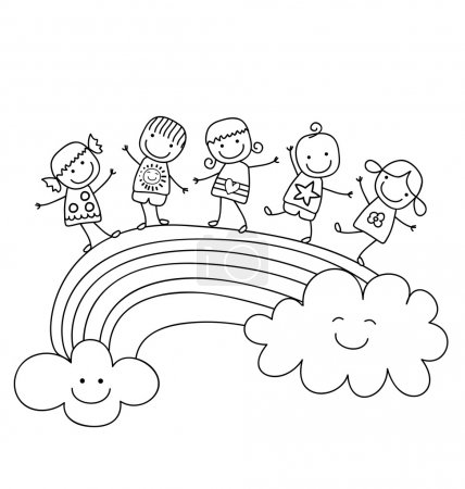 Illustration for Happy children on a rainbow, best friends - Royalty Free Image