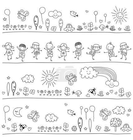 Illustration for Black and white pattern for children with cute nature elements, child like drawing style - Royalty Free Image