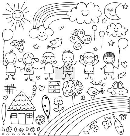 Illustration pour Enfants, nuages, soleil, arc-en-ciel.., enfants comme des éléments de dessins ensemble - image libre de droit