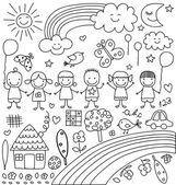 Kids clouds sun rainbow child like drawings elements set
