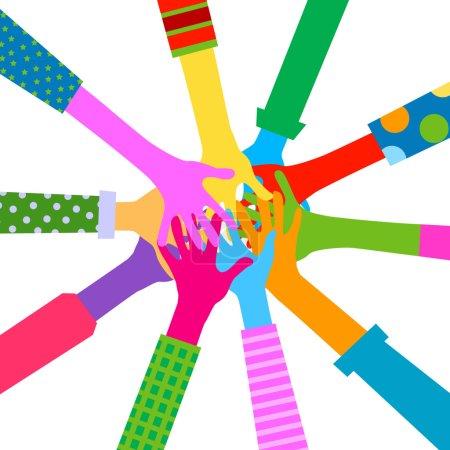 Illustration for Hands diverse togetherness - Royalty Free Image
