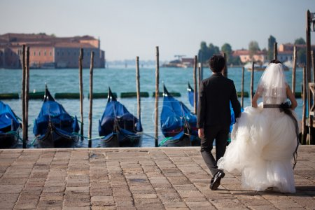 Photo for Married couple in Romantic Italian city of Venice - Royalty Free Image