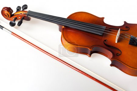 Photo for Violin and bow on white background - Royalty Free Image