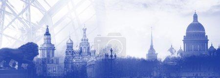 Photo pour Saint-Pétersbourg Russie silhouette skyline ville - image libre de droit