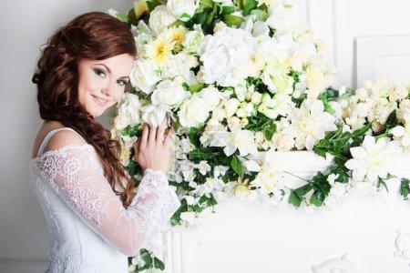 Charming bride. Wedding dress. Decoration