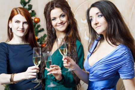Portrait of cheerful girls at the Cristmas party